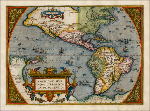61-North America, South America and America Map By Abraham Ortelius