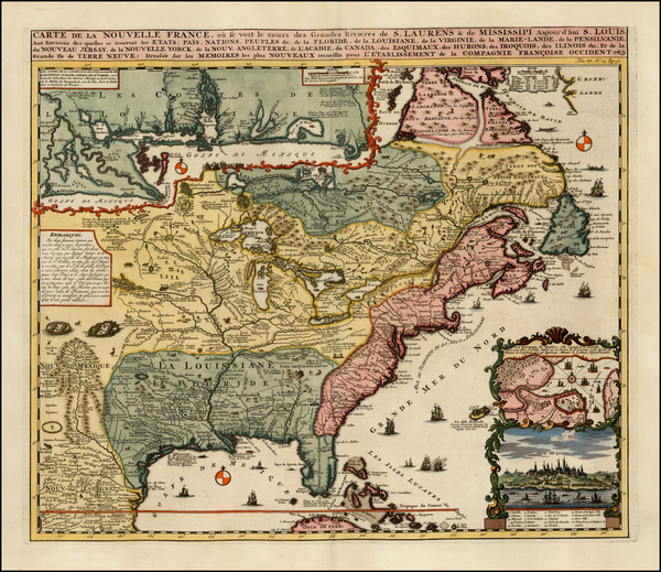46-United States, Mid-Atlantic, South, Southeast, Midwest, Plains, North America and Canada Map By
