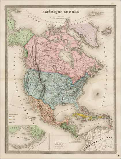 55-North America, South America and America Map By J. Andriveau-Goujon