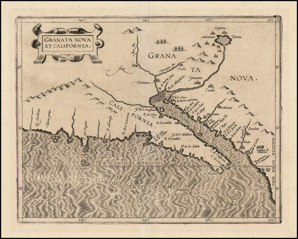 53-Southwest, Mexico, Baja California and California Map By Cornelis van Wytfliet
