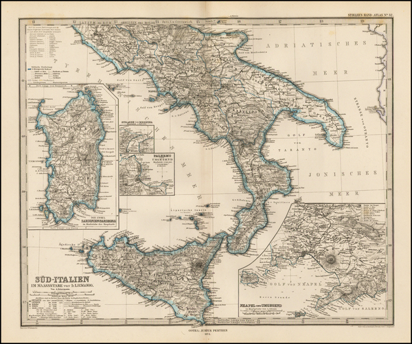 95-Italy and Balearic Islands Map By Adolf Stieler