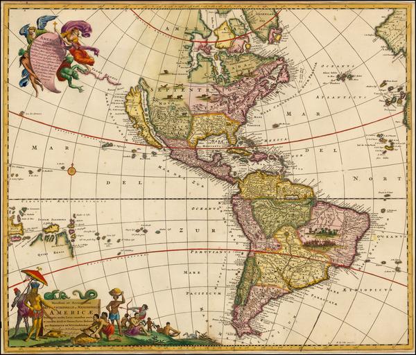 67-South America, Australia & Oceania, Australia, Oceania and America Map By Frederick De Wit