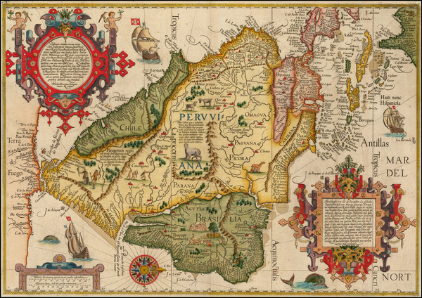 57-Polar Maps, Florida, South, Southeast, Caribbean, Central America, South America, Brazil and Am