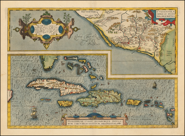 52-Southeast, Mexico and Caribbean Map By Abraham Ortelius