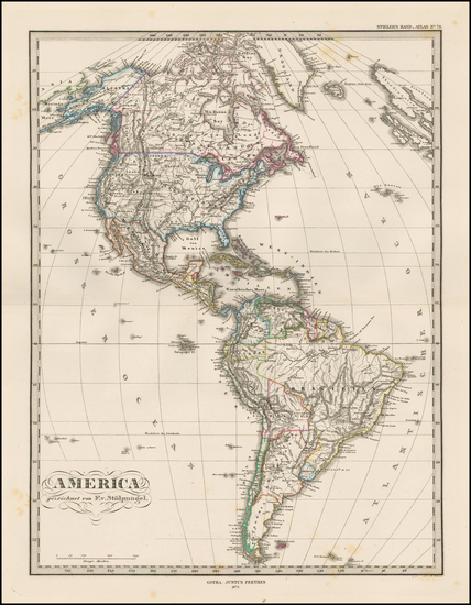 100-South America and America Map By Adolf Stieler