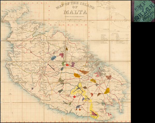 70-Malta Map By Royal Engineers Office, Malta.