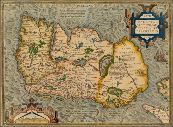 15-Ireland Map By Abraham Ortelius
