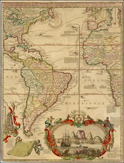 32-Atlantic Ocean, North America, South America and America Map By Hendrick De Leth