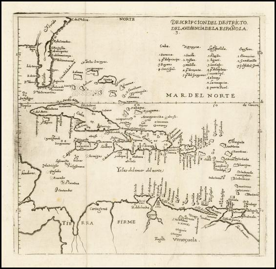85-Florida, Southeast, Caribbean and South America Map By Antonio de Herrera y Tordesillas