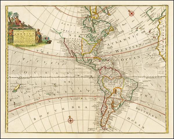 43-Western Hemisphere, South America and America Map By Emanuel Bowen
