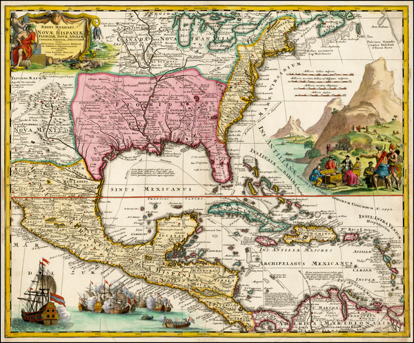 74-United States, South, Southeast, Texas, Midwest and Southwest Map By Johann Baptist Homann