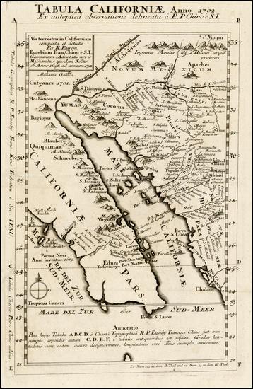 47-Southwest, Mexico, Baja California and California Map By Fr. Eusebio Kino