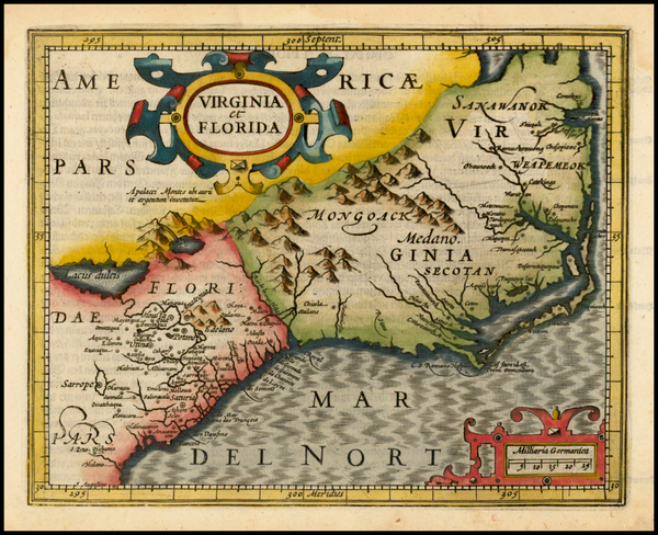 93-Mid-Atlantic and Southeast Map By Jodocus Hondius