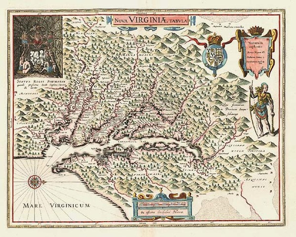 76-Mid-Atlantic and Southeast Map By Willem Janszoon Blaeu