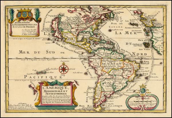 32-California as an Island and America Map By Nicolas de Fer