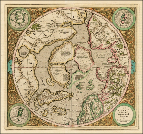 31-Northern Hemisphere, Polar Maps and Alaska Map By Gerard Mercator