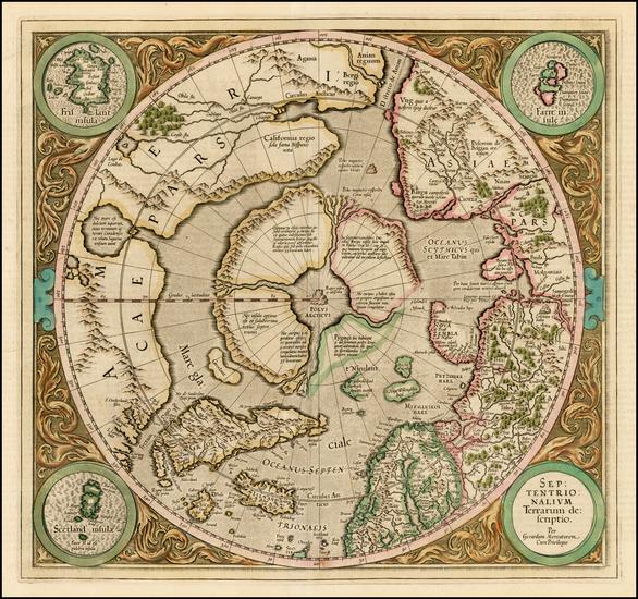 66-Northern Hemisphere, Polar Maps and Alaska Map By Gerard Mercator