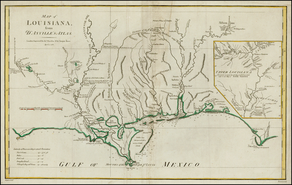 19-South and Louisiana Map By John Harrison / Thomas Bowen
