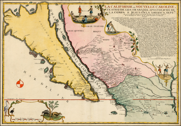 44-Southwest, Mexico, Baja California, California and California as an Island Map By Nicolas de Fe