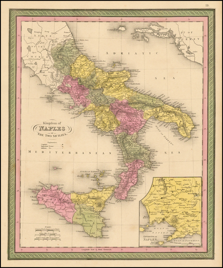 16-Italy and Balearic Islands Map By Samuel Augustus Mitchell