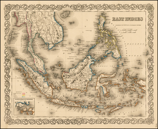 73-Southeast Asia, Philippines and Other Pacific Islands Map By Joseph Hutchins Colton