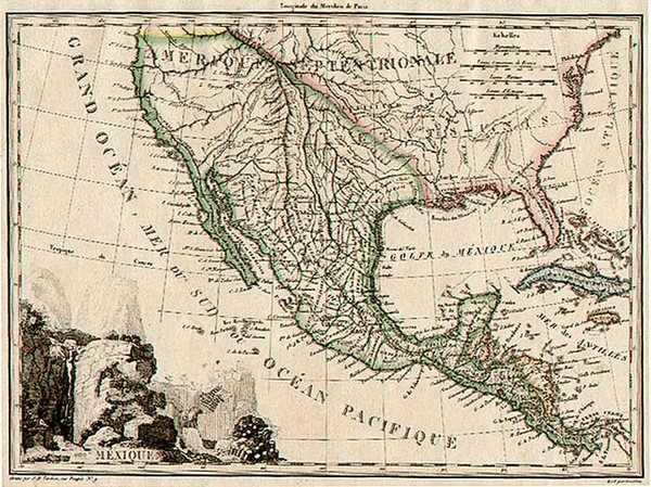 60-Southwest, Rocky Mountains, Mexico and California Map By Conrad Malte-Brun