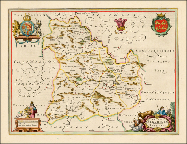 3-Wales Map By Johannes Blaeu