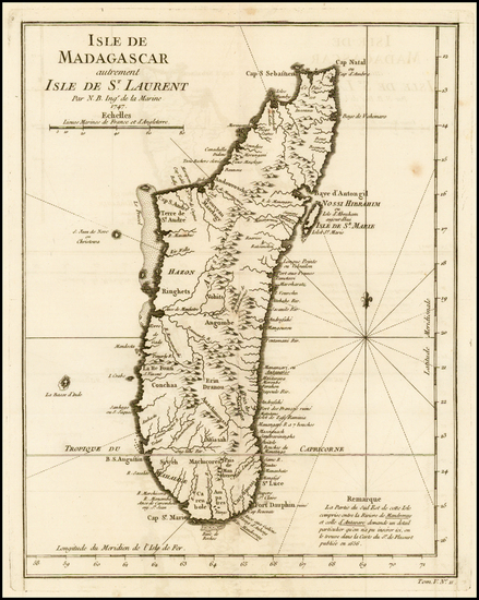 68-African Islands, including Madagascar Map By Jacques Nicolas Bellin