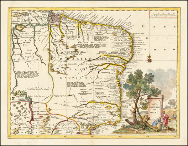 47-South America and Brazil Map By Giambattista Albrizzi