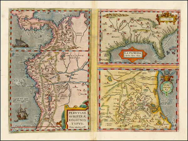 33-Florida, South, Southeast, Central America and South America Map By Abraham Ortelius
