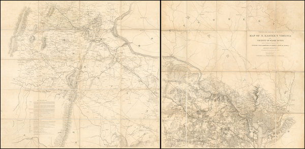 86-Mid-Atlantic and Southeast Map By United States Bureau of Topographical Engineers