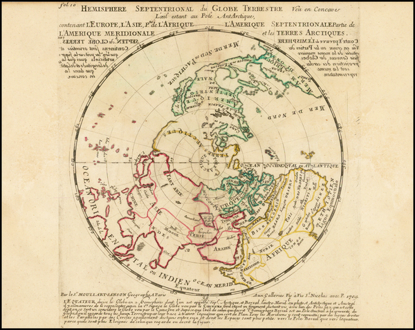 23-World, Northern Hemisphere, Polar Maps and California Map By Pierre Moullart Sanson