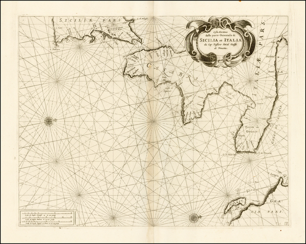56-Southern Italy and Sicily Map By Vincenzo Maria Coronelli