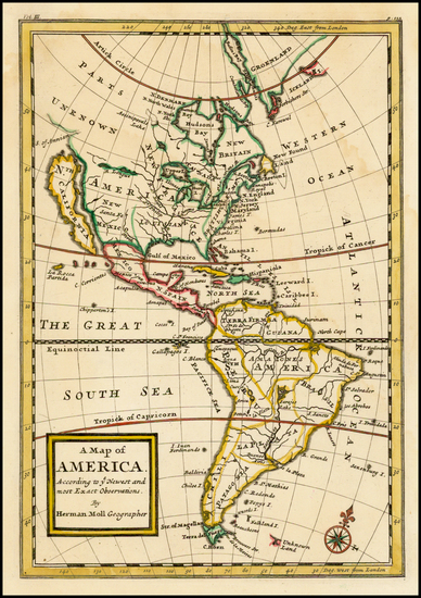 90-South America and America Map By Herman Moll