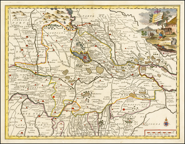 68-Italy and Northern Italy Map By Giambattista Albrizzi