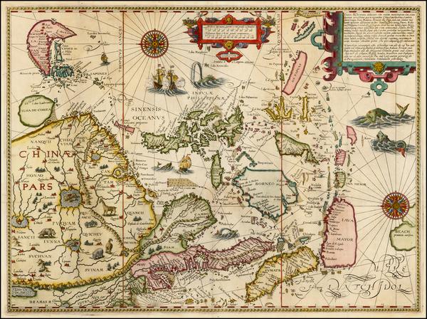 76-China, Japan, Korea, Southeast Asia and Philippines Map By Jan Huygen Van Linschoten