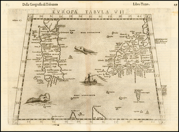 49-Italy and Balearic Islands Map By Girolamo Ruscelli