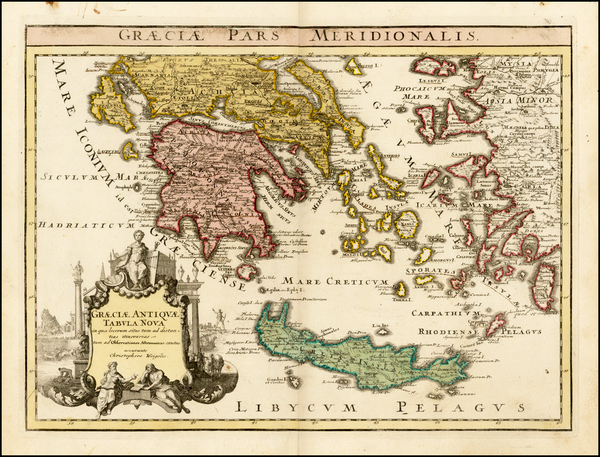 83-Greece Map By Johann Christoph Weigel