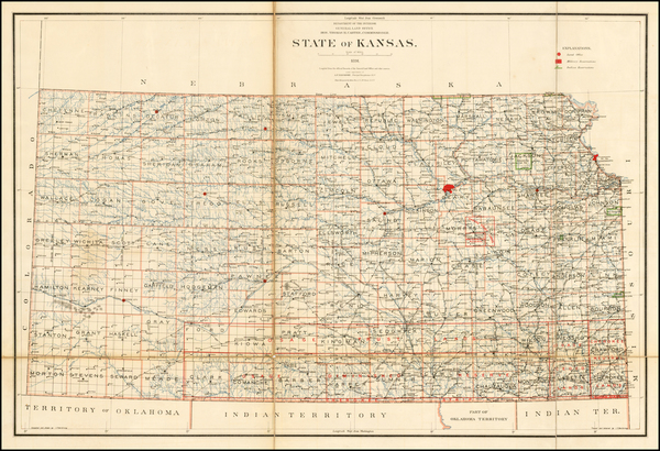 Kansas Map By U.S. General Land Office