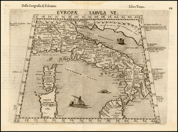 78-Italy and Balearic Islands Map By Girolamo Ruscelli