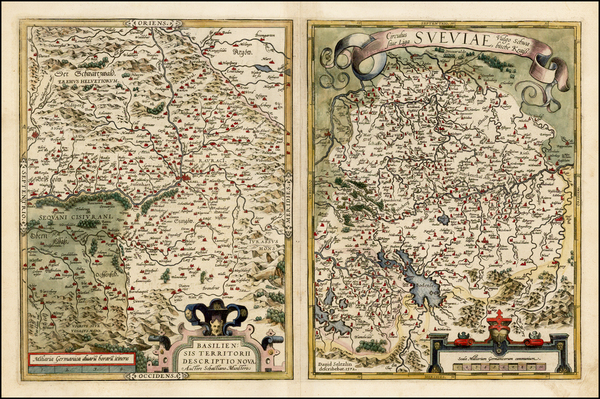 55-Switzerland and Germany Map By Abraham Ortelius