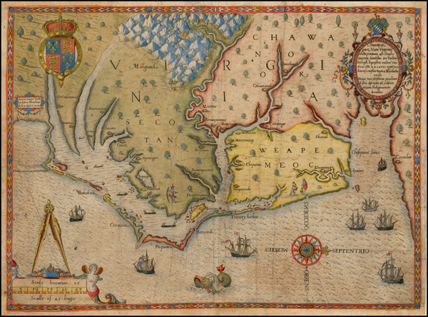 68-Mid-Atlantic and Southeast Map By Theodor De Bry / John White