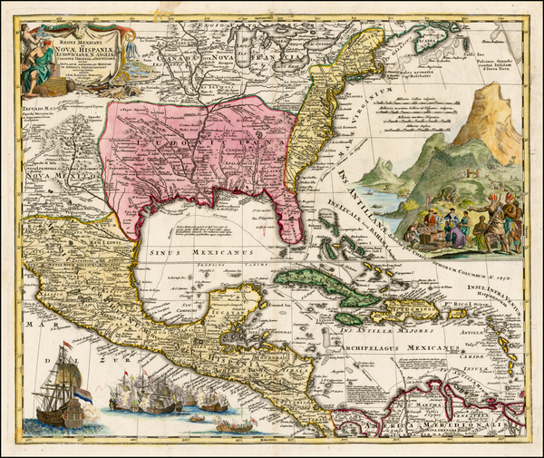 58-United States, South, Southeast, Texas, Midwest and Caribbean Map By Johann Baptist Homann