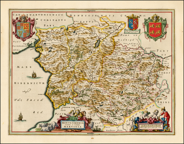 96-Wales Map By Johannes Blaeu