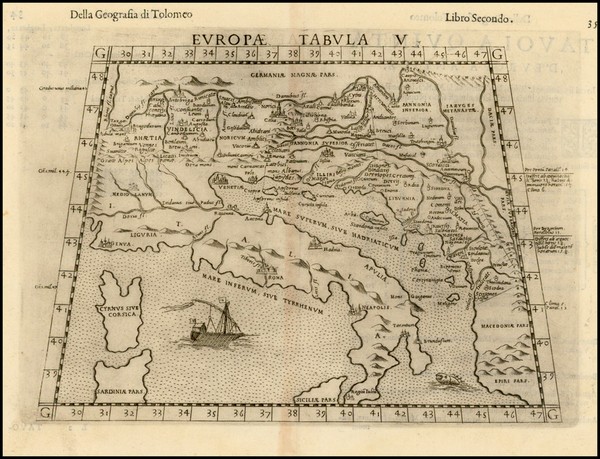 98-Balkans and Italy Map By Girolamo Ruscelli