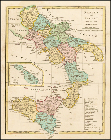 5-Italy, Southern Italy, Balearic Islands and Sicily Map By Robert Wilkinson