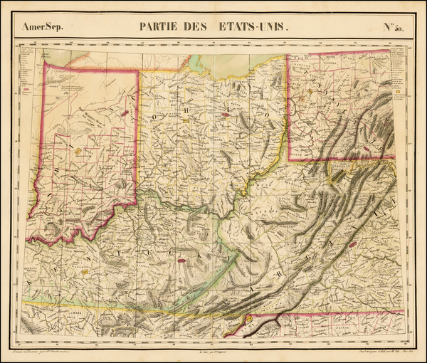 49-West Virginia, Kentucky, Indiana and Ohio Map By Philippe Marie Vandermaelen