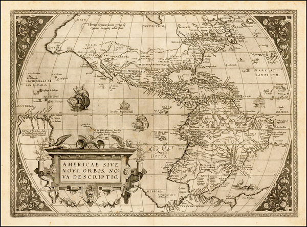 56-Western Hemisphere, South America and America Map By Abraham Ortelius