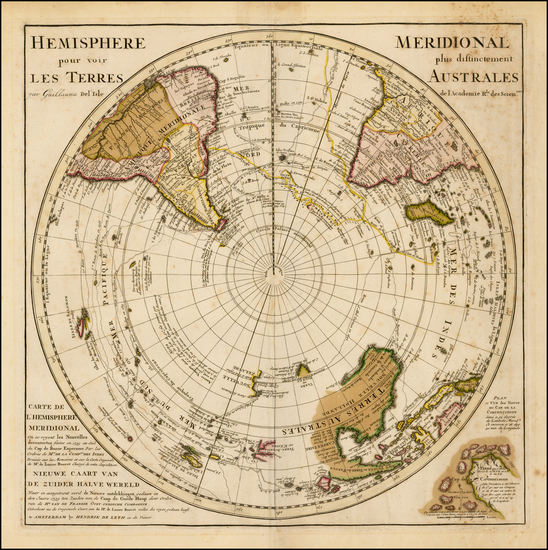 28-Southern Hemisphere, Polar Maps, Australia and New Zealand Map By Hendrick De Leth