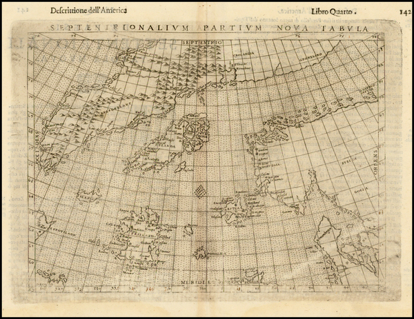 43-Polar Maps, Atlantic Ocean and Scandinavia Map By Girolamo Ruscelli